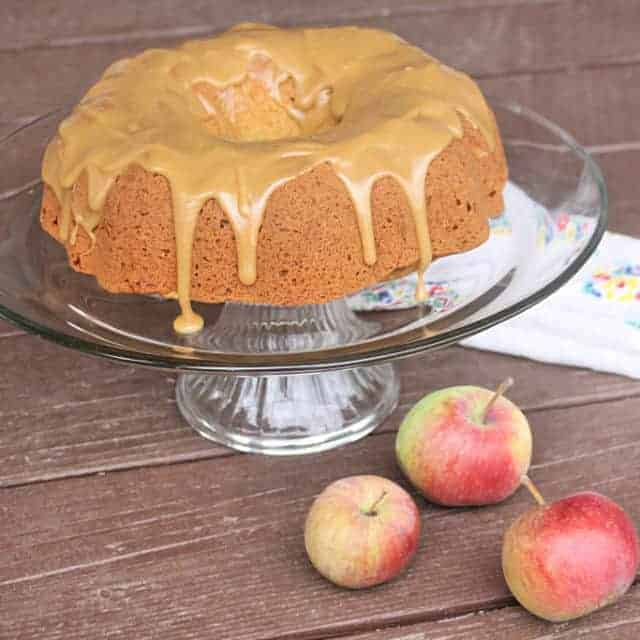 The easiest apple cake with caramel glaze on cake plate with napkin and fresh apples.
