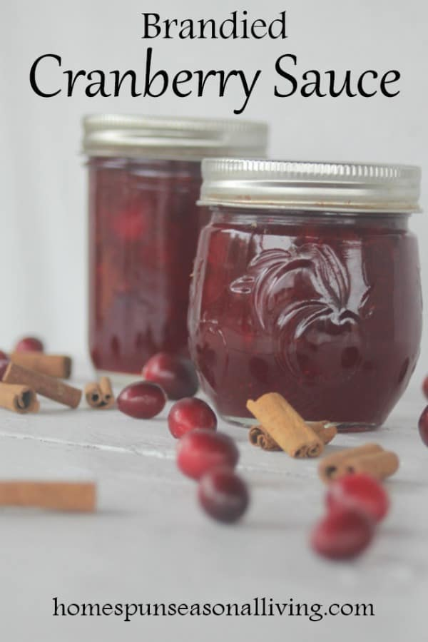 Brandied cranberry sauce in jars.