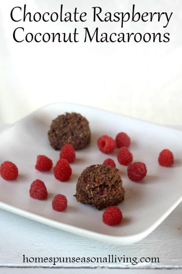 Chocolate Raspberry Coconut Macaroons on a plate with fresh raspberries