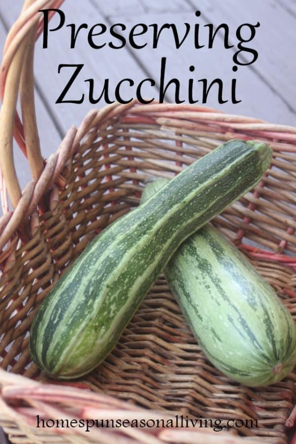 Zucchini in a basket.