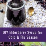A collage of photos with elderberry syrup in a jar on top, and fresh elderberries hanging from the bush on the bottom - text overlay in the middle.