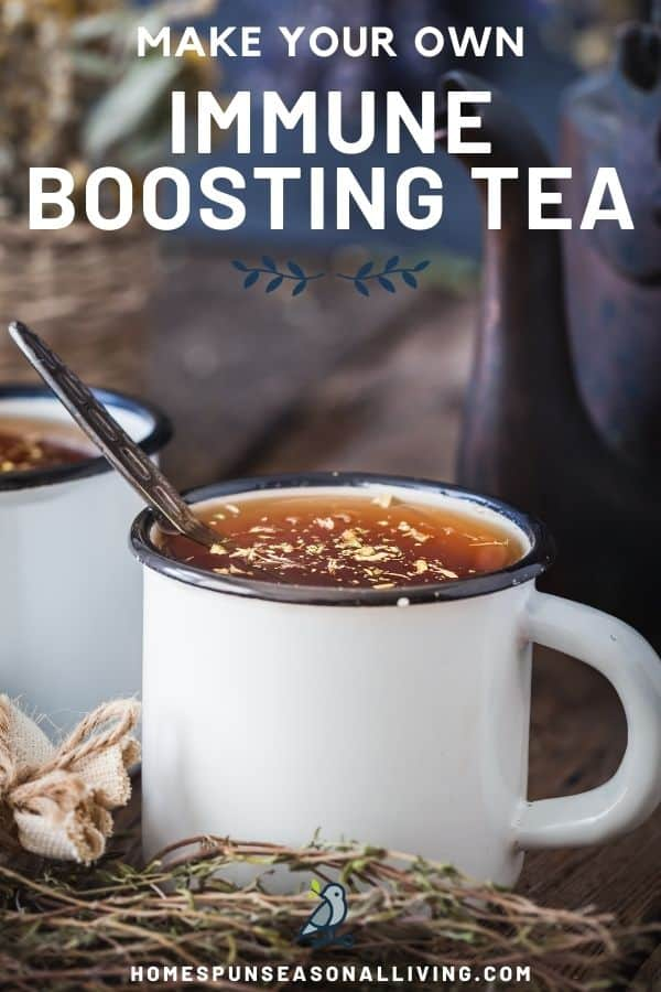 2 white cups full of herbal tea, cup in front has spoon sticking out, surrounded by dried herbs with text overlay reading: make your own immune boosting tea.