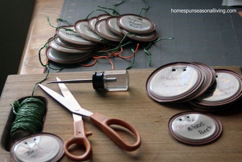 Upcycled Canning Lid Plant Markers - Homespun Seasonal Living