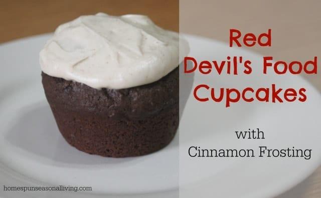 Red Devil's Food Cupcakes - Homespun Seasonal Living