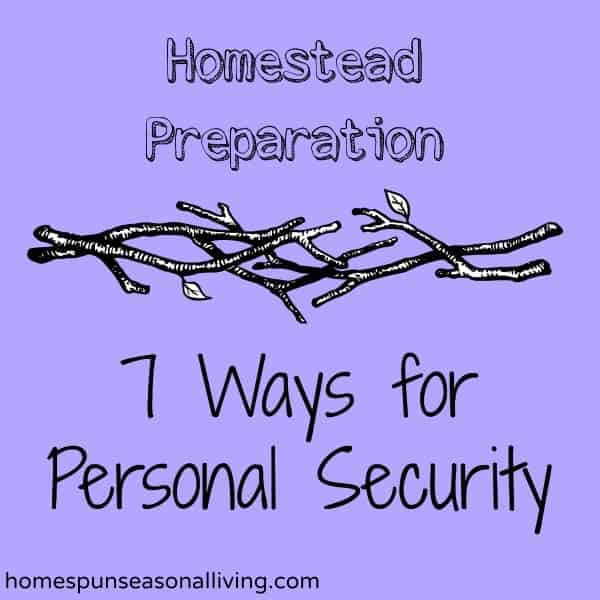 Homestead Preparation - 7 Ways for Personal Security from Homespun Seasonal Living