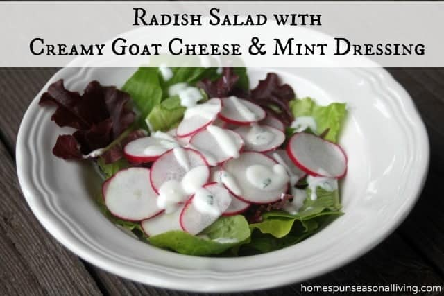 Use up spring vegetables and herbs with this Radish Salad with Creamy Goat Cheese and Mint Dressing.