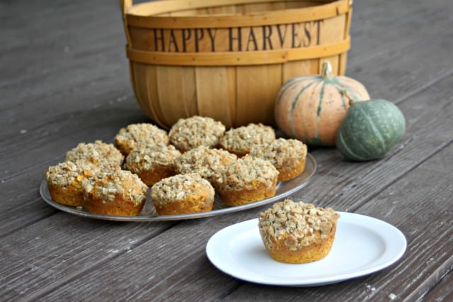Bake up some fall flavor with these moist pumpkin maple muffins topped with a crunchy and spiced cardamom oat streusel topping.