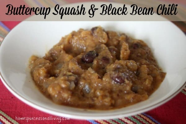 Buttercup Squash & Black Bean Chili from Homespun Seasonal Living. A quick and easy chili for a cold night.