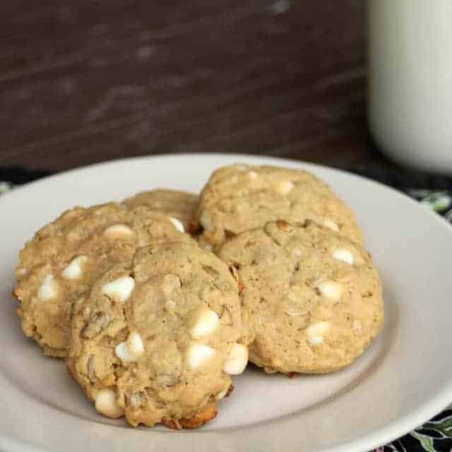 Nut-free and potentially gluten-free these Sunflower White Chocolate Cowboy Cookies, make a great cookie to eat up fresh or ship to loved ones far away.