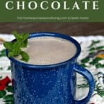 A blue tin cup full of hot chocolate decorated with fresh sprigs of mint sitting on a floral and bird covered placemat with text overlay stating: homemade herbal hot chocolate.