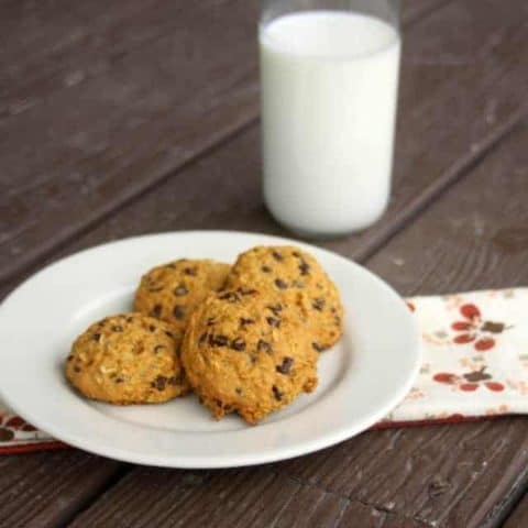 Pumpkin Chocolate Chip Oatmeal Cookies are a lightly sweetened and spiced for a perfect fall treat to keep or mail in a care package.