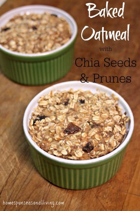Lightly sweetened with maple syrup this baked oatmeal with chia seeds & prunes is sure to warm you up while also getting you off to a nutritious start to the day.