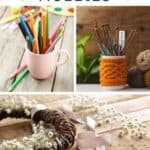 A collage of three photos: a pink coffee mug full of colored pencils, a white cup full of knitting needles, and a a vine wreath decorated with white flowers with text overlay on top reading: homestead hobbies.