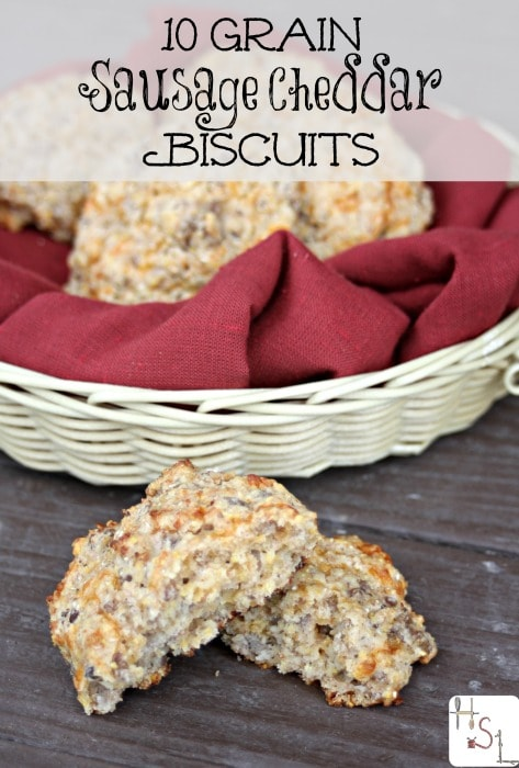 Fuel up for busy days with a breakfast full of whole grains and protein in these 10 Grain Sausage Cheddar Biscuits.