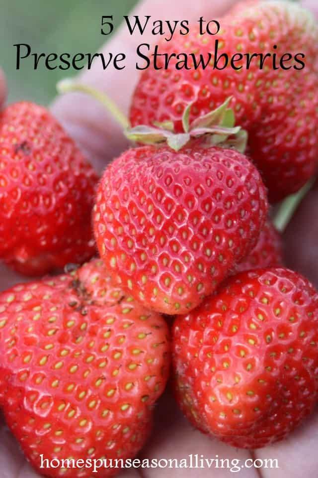 Handful of strawberries.