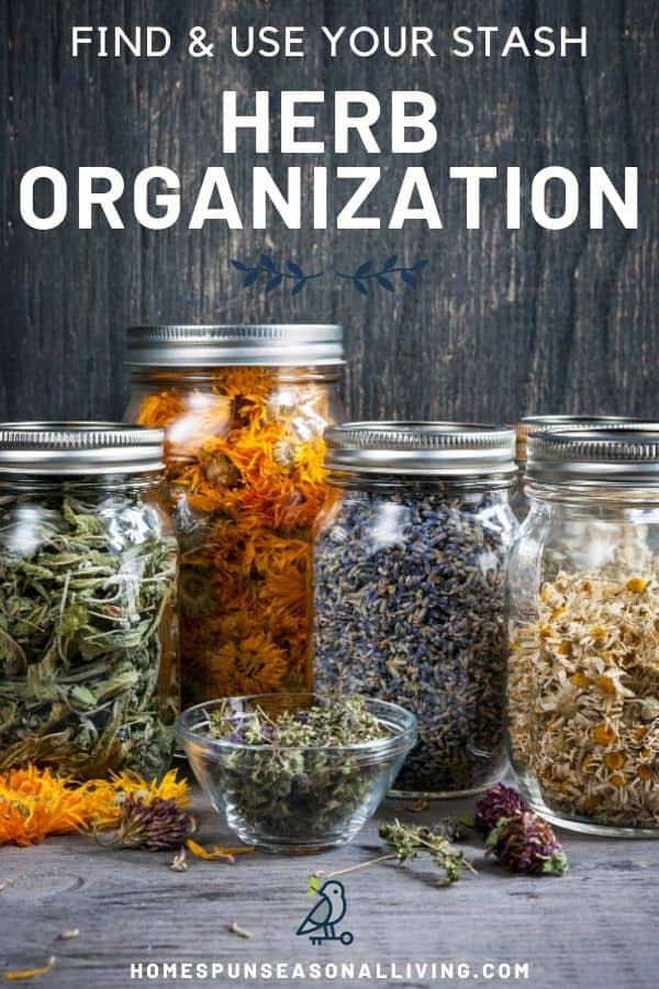 Glass canning jars full of dried herbs with text overlay reading find & use your stash herb organization.
