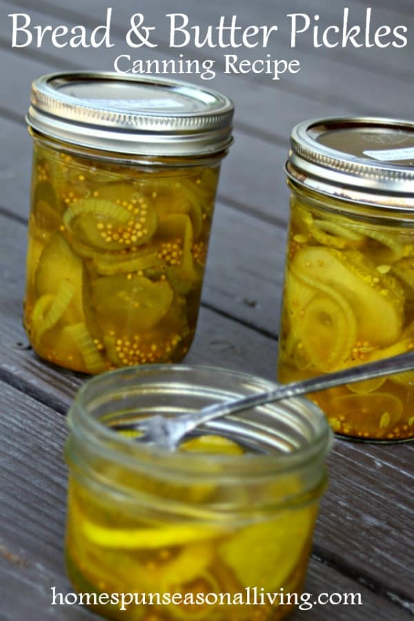 Bread and butter pickles in jars.