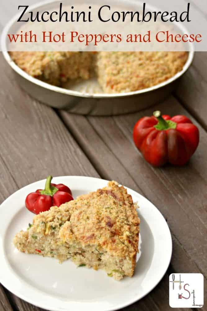 Use up garden fresh veggies in this Zucchini Cornbread with Hot Peppers and Cheese that makes a wonderful side dish to soup or salad.