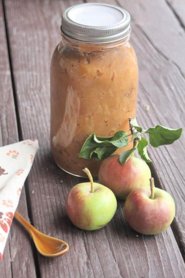 A jar of chunky applesauce on a dark table with fresh apples and a napkin.