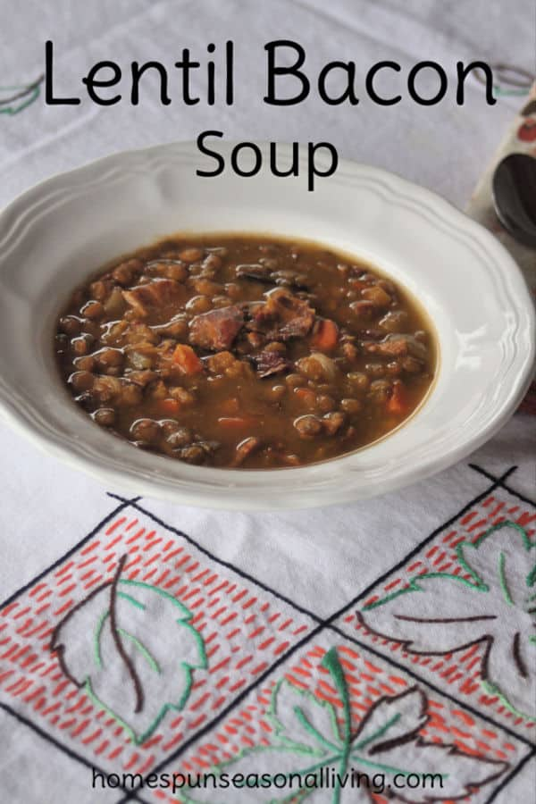 A bowl of lentil bacon soup on a tablecloth.