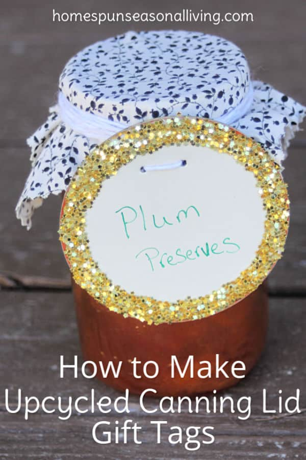 A jar of preserves decorated with an upcycled canning lid gift tag.