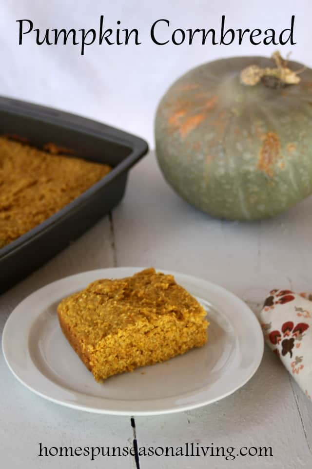 Pumpkin cornbread is a tasty and moist side dish that is as comfortable with breakfast eggs and bacon as it is as a side dish on a holiday dinner table.