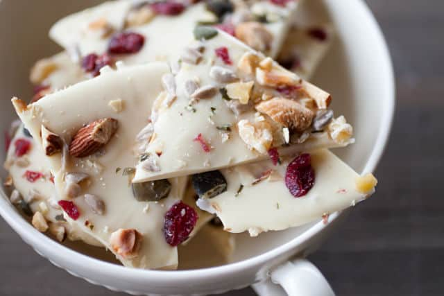 White chocolate bark in a bowl.