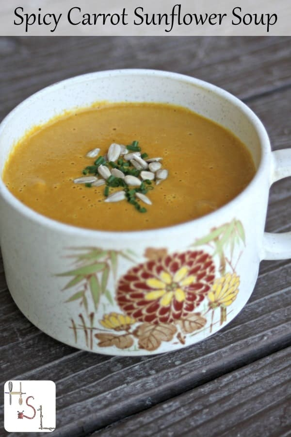 Easy and delicious this spicy carrot sunflower soup whips up in a hurry and packs delightfully in a travel bottle for lunches and road trips.