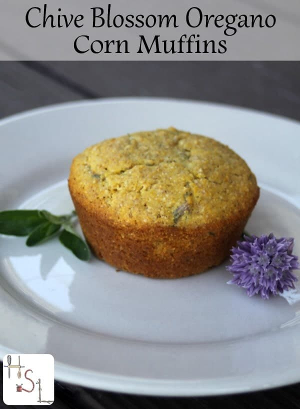 Use garden fresh herbs for a delightful side dish to salads and soups with these easy to whip up chive blossom oregano corn muffins.