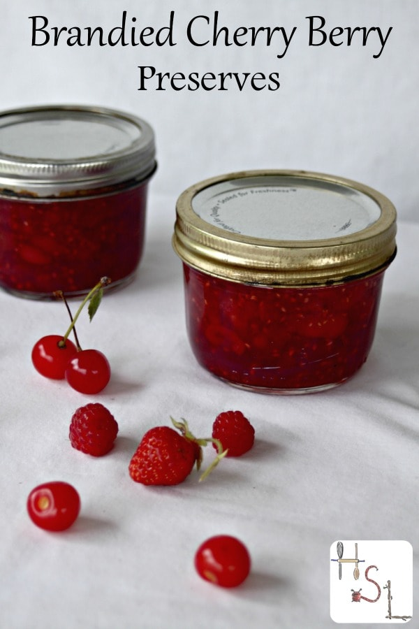 Make these delightful brandied cherry berry preserves and top pancakes, oatmeal, poundcake, and more with the flavors of summer all year long.
