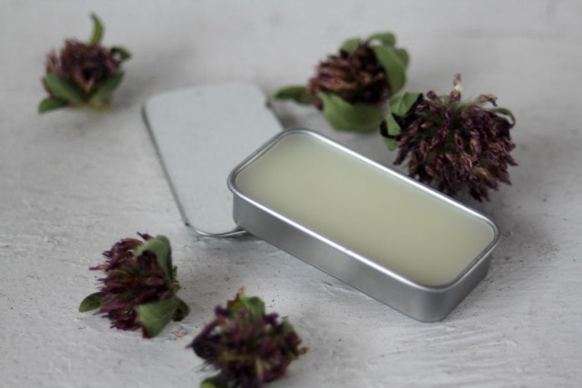 Protect and soothe the lips with this DIY red clover lip balm that eases pain, calms inflammation, reduces redness, and softens skin.