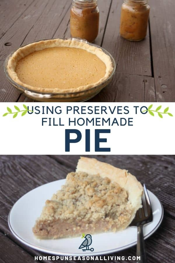 Stacked photos of applesauce pie on top and a slice of apple butter pie on the bottom with text overlay between them.
