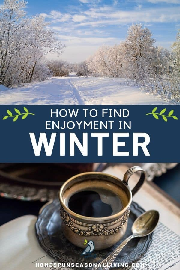 A collage of stacked photos with a snowy winter scene on top and cup of coffee on the bottom with text overlay in the middle.