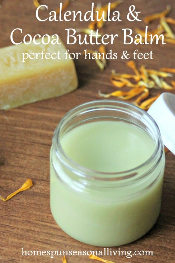 calendula cocoa butter balm in container.