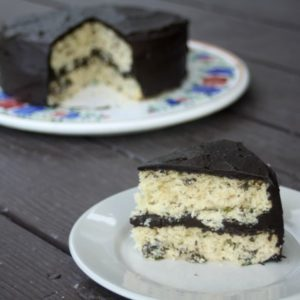 A slice of fresh mint cake with dark chocolate frosting plated.