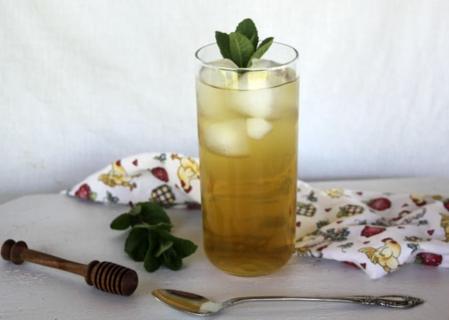 Mint iced tea on a table.