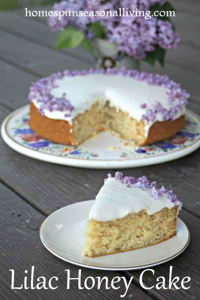A slice of lilac honey cake on a plate with whole cake.