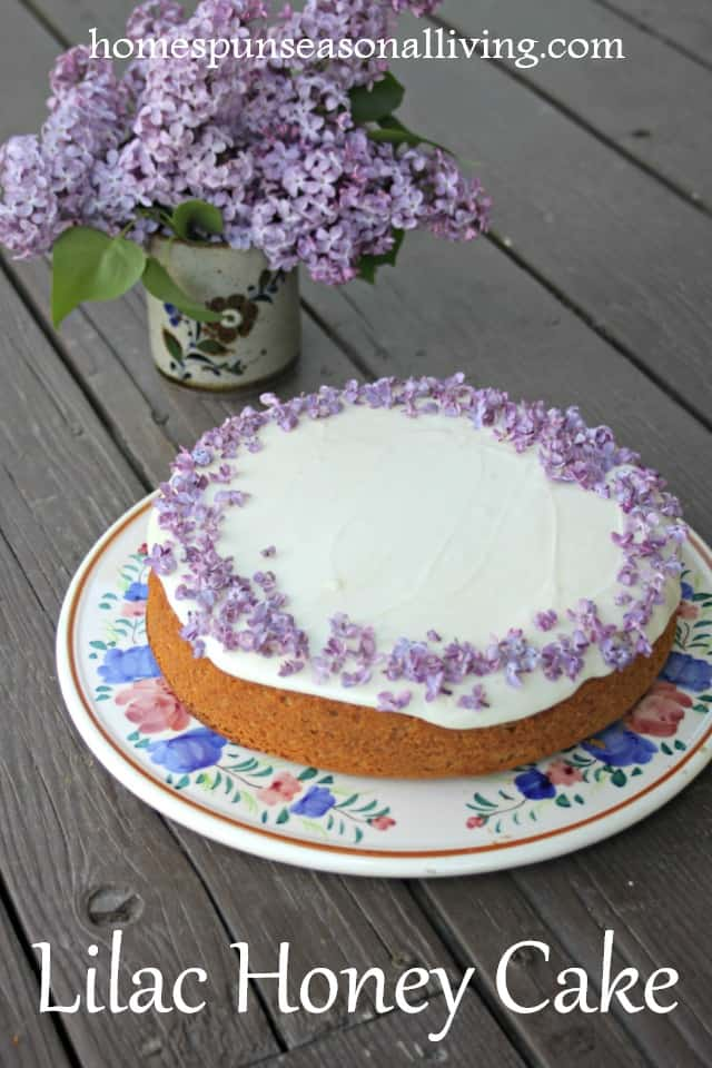 Lilac honey cake on a plate with a vase of lilac flowers.