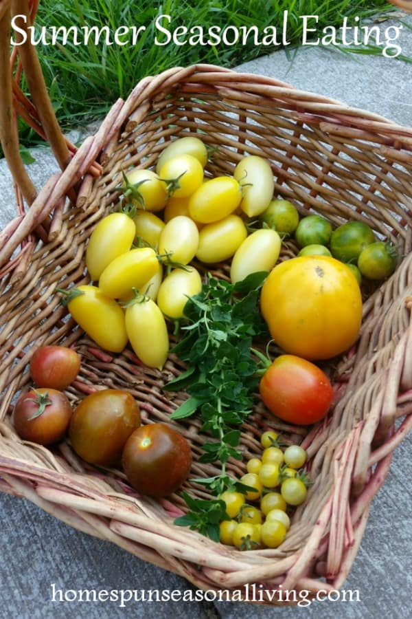 A basket of fresh tomatoes for summer seasonal eating.