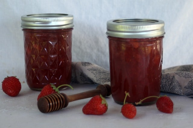 Make up a batch or several of this Honey Sweetened Strawberry Vanilla Jam to stock the pantry for winter and have tasty gifts on hand.