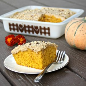 All of the flavor of a coffee house specialty in cake form. This pumpkin cake with cinnamon coffee frosting is a quick and easy dessert sure to please.
