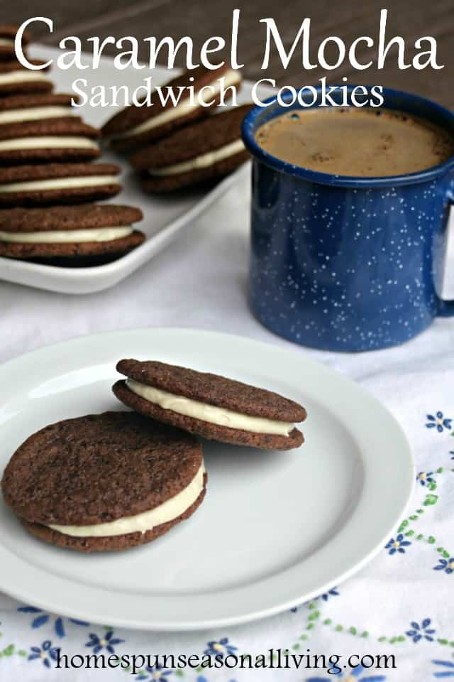 Perfect as a gift for the coffee lover in your life, caramel mocha sandwich cookies are crunchy and dark with a smooth and sweet filling.