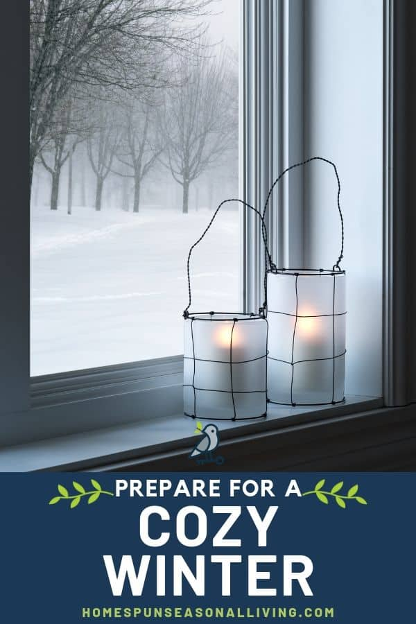Candles in a lantern on a windowsill looking outside to a snow covered landscape.