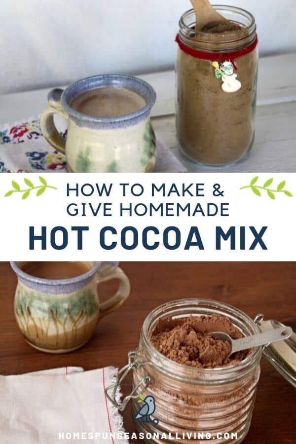 A collage of homemade hot cocoa mix in jars photos with text overlay.