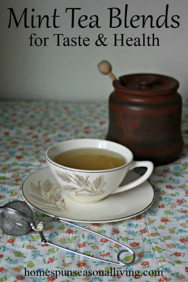 Mint tea blends cup with honey image.
