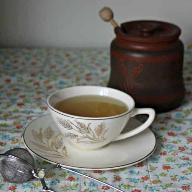 mint tea blends with honey square photograph.