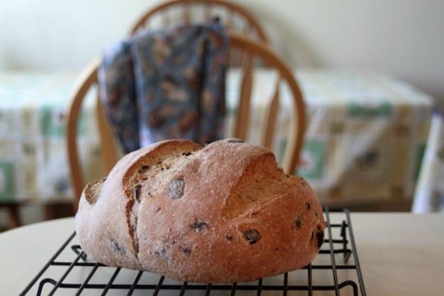 Handmade bread on cooling rack.