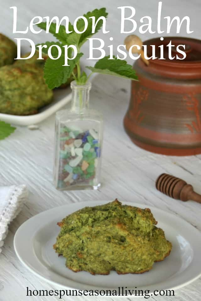 lemon balm drop biscuits on a table.