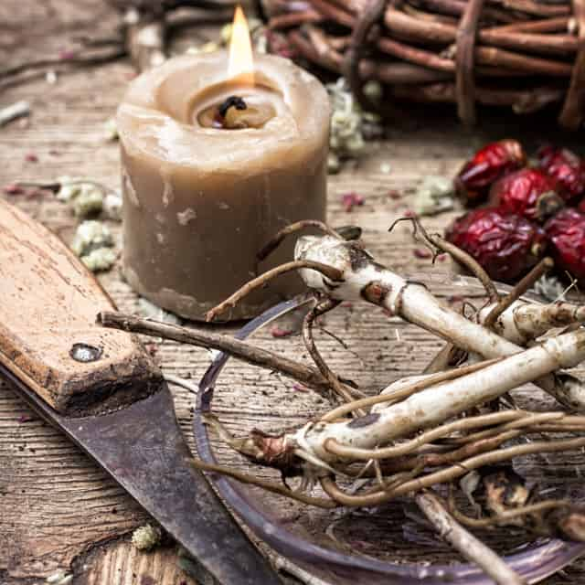 A knife and lit candle on a table with medicinal roots and rose hips.