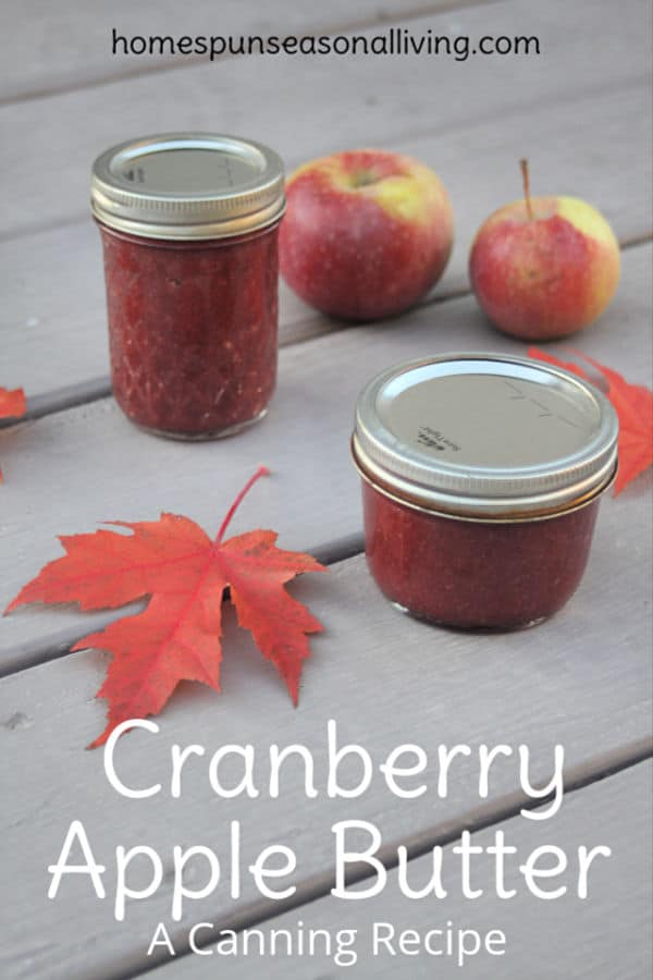 J]ars of cranberry apple butter on a table with red maple leaves and fresh apples.
